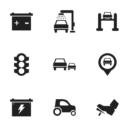 overtake: Set Of 9 Editable Transport Icons. Includes Symbols Such As Accumulator, Battery, Treadle And More. Can Be Used For Web, Mobile, UI And Infographic Design.