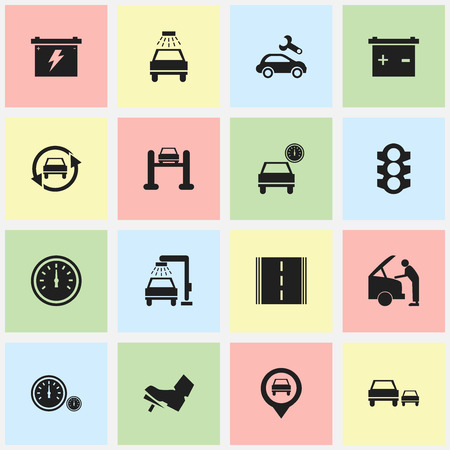 treadle: Set Of 16 Editable Car Icons. Includes Symbols Such As Car Lave, Treadle, Accumulator And More. Can Be Used For Web, Mobile, UI And Infographic Design. Illustration
