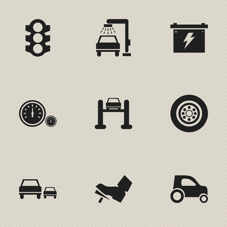 treadle: Set Of 9 Editable Car Icons. Includes Symbols Such As Treadle, Tire, Auto Service And More. Can Be Used For Web, Mobile, UI And Infographic Design.