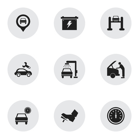 treadle: Set Of 9 Editable Transport Icons. Includes Symbols Such As Treadle, Auto Service, Pointer And More. Can Be Used For Web, Mobile, UI And Infographic Design.