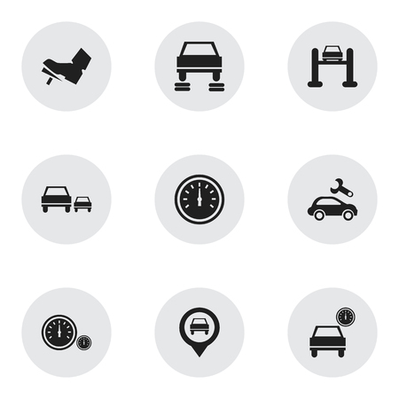 Set Of 9 Editable Transport Icons. Includes Symbols Such As Auto Repair, Pointer, Speedometer And More. Can Be Used For Web, Mobile, UI And Infographic Design.