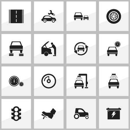 treadle: Set Of 16 Editable Car Icons. Includes Symbols Such As Automobile, Treadle, Stoplight And More. Can Be Used For Web, Mobile, UI And Infographic Design. Illustration