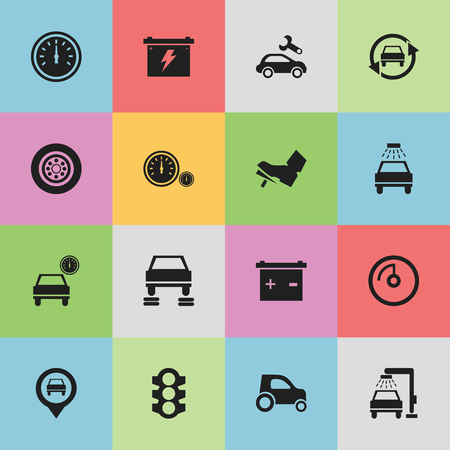 Set Of 16 Editable Transport Icons. Includes Symbols Such As Pointer, Automobile, Battery And More. Can Be Used For Web, Mobile, UI And Infographic Design.