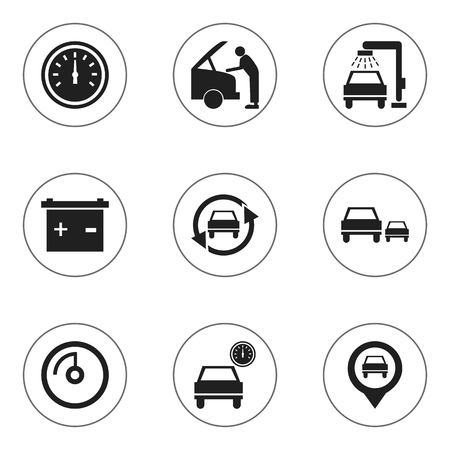 Set Of 9 Editable Car Icons. Includes Symbols Such As Race, Speed Control, Accumulator And More. Can Be Used For Web, Mobile, UI And Infographic Design. Illustration