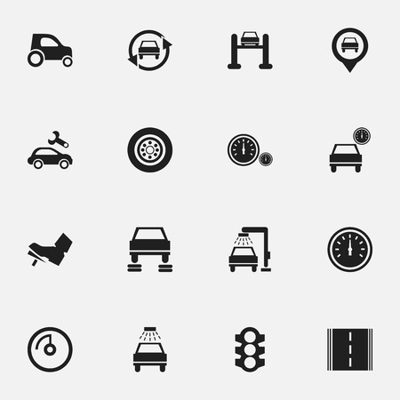 treadle: Set Of 16 Editable Vehicle Icons. Includes Symbols Such As Treadle, Stoplight, Automotive Fix And More. Can Be Used For Web, Mobile, UI And Infographic Design.