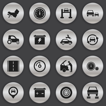 Set Of 16 Editable Transport Icons. Includes Symbols Such As Highway, Speedometer, Automotive Fix And More. Can Be Used For Web, Mobile, UI And Infographic Design. Illustration
