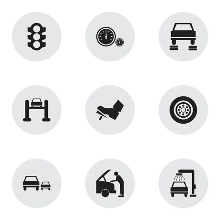 treadle: Set Of 9 Editable Vehicle Icons. Includes Symbols Such As Auto Repair, Treadle, Car Fixing And More. Can Be Used For Web, Mobile, UI And Infographic Design.