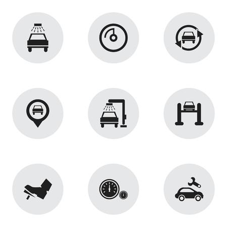 Set van 9 bewerkbare transportpictogrammen. Bevat symbolen zoals Pointer, Automotive Fix, Vehicle Wash en meer. Kan worden gebruikt voor Web, Mobile, UI en Infographic Design.