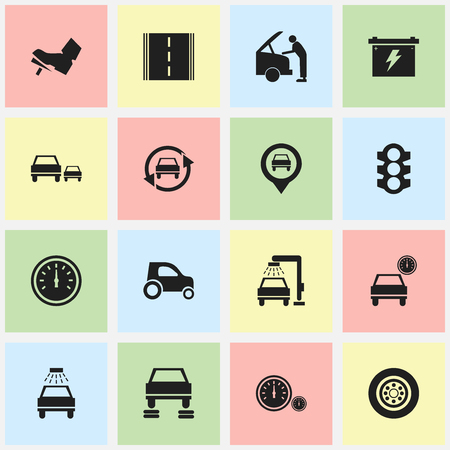 treadle: Set Of 16 Editable Car Icons. Includes Symbols Such As Treadle, Race, Car Lave And More. Can Be Used For Web, Mobile, UI And Infographic Design.