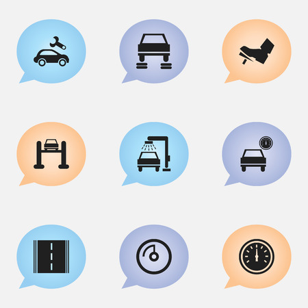 treadle: Set Of 9 Editable Vehicle Icons. Includes Symbols Such As Treadle, Speed Control, Automotive Fix And More. Can Be Used For Web, Mobile, UI And Infographic Design.