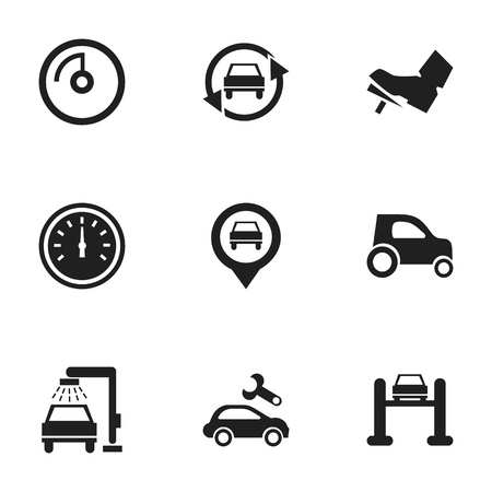 treadle: Set Of 9 Editable Traffic Icons. Includes Symbols Such As Treadle, Vehicle Car, Auto Service And More. Can Be Used For Web, Mobile, UI And Infographic Design. Illustration