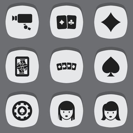 Set Of 9 Editable Gambling Icons. Includes Symbols Such As Female Face, Black Heart, Card Suits And More. Can Be Used For Web, Mobile, UI And Infographic Design.