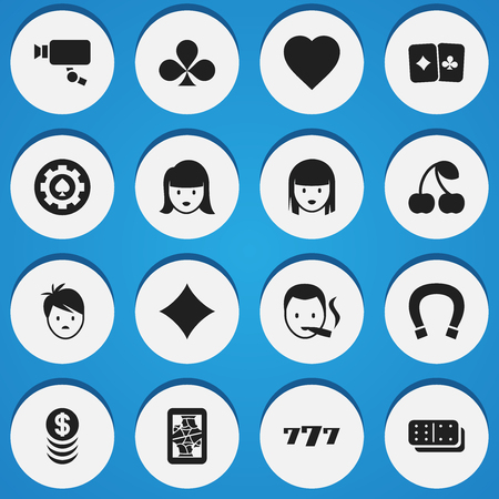 dime: Set Of 16 Editable Gambling Icons. Includes Symbols Such As Tracking Cam, Woman Face, Luck Charm And More. Can Be Used For Web, Mobile, UI And Infographic Design. Illustration
