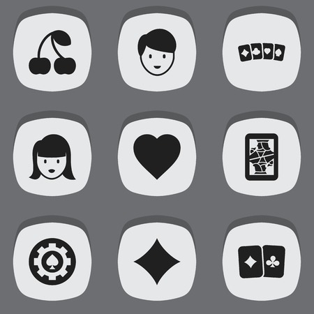 Set Of 9 Editable Business Icons. Includes Symbols Such As Black Heart, Casino Worker, Woman Face And More. Can Be Used For Web, Mobile, UI And Infographic Design.