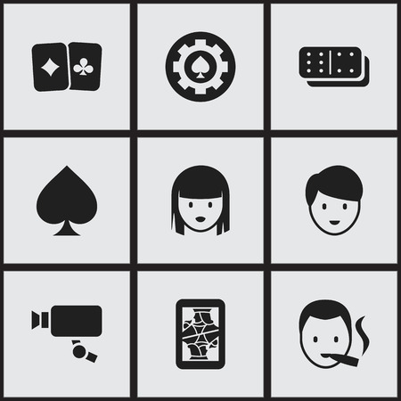 Set Of 9 Editable Excitement Icons. Includes Symbols Such As Card Pair, Bones Game, Tracking Cam And More. Can Be Used For Web, Mobile, UI And Infographic Design. Illustration