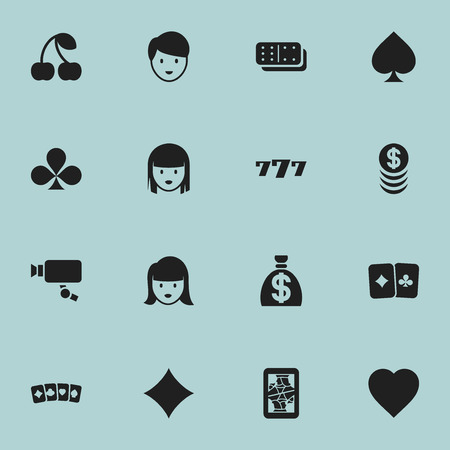 Set Of 16 Editable Casino Icons. Includes Symbols Such As Love, Game Card, Shamrock And More. Can Be Used For Web, Mobile, UI And Infographic Design.