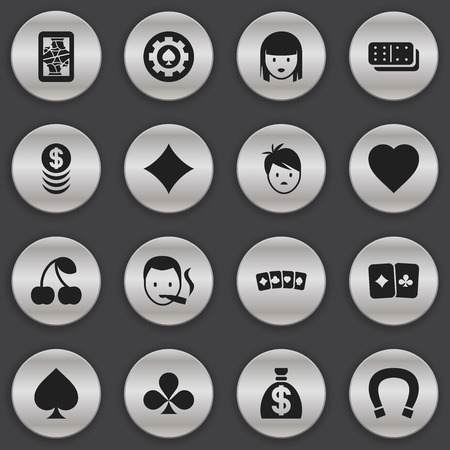 clover face: Set Of 16 Editable Excitement Icons. Includes Symbols Such As Blackjack, Black Heart, Rhombus And More. Can Be Used For Web, Mobile, UI And Infographic Design.