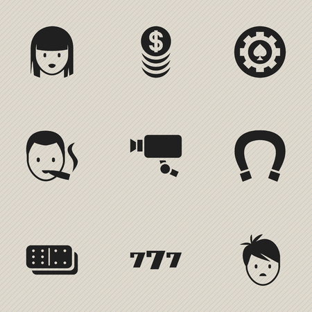 lucky charm: Set Of 9 Editable Business Icons. Includes Symbols Such As Stacked Money, Female Face, Bones Game And More. Can Be Used For Web, Mobile, UI And Infographic Design. Illustration