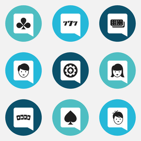 Set Of 9 Editable Game Icons. Includes Symbols Such As Bones Game, Game Card, Lucky Seven And More. Can Be Used For Web, Mobile, UI And Infographic Design.