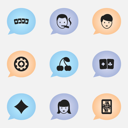 Set Of 9 Editable Game Icons. Includes Symbols Such As Card Suits, Smoker, Card Pair And More. Can Be Used For Web, Mobile, UI And Infographic Design. Illustration