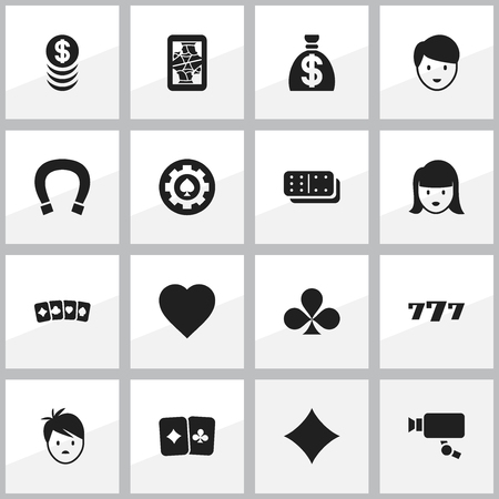 Set Of 16 Editable Casino Icons Includes Symbols Such As Luck