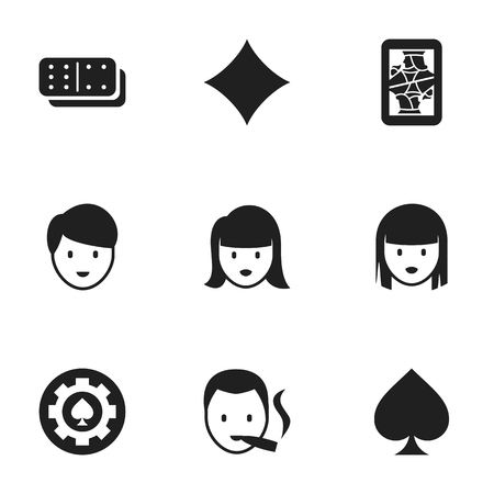 Set Of 9 Editable Gambling Icons. Includes Symbols Such As Rhombus, Blackjack, Female Face And More. Can Be Used For Web, Mobile, UI And Infographic Design.