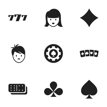 Set Of 9 Editable Casino Icons. Includes Symbols Such As Shamrock, Woman Face, Bones Game And More. Can Be Used For Web, Mobile, UI And Infographic Design. Illustration