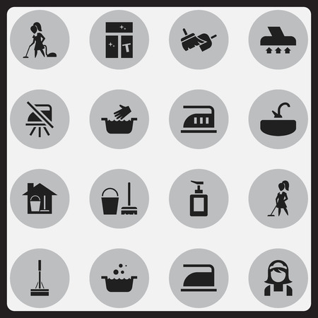 flooring: Set Of 16 Editable Dry-Cleaning Icons. Includes Symbols Such As Washing Glass, Floor Dusting, Notice And More. Can Be Used For Web, Mobile, UI And Infographic Design. Illustration