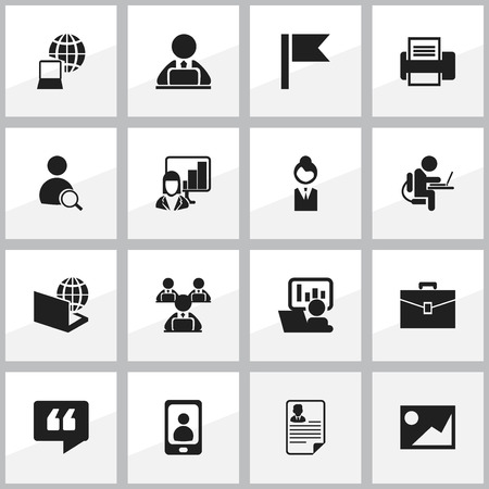 introducing: Set Of 16 Editable Office Icons. Includes Symbols Such As Worker With Laptop, Telephone, Portfolio And More. Can Be Used For Web, Mobile, UI And Infographic Design.