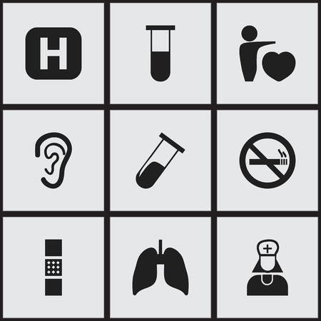 nicotine patch: Set Of 9 Editable Clinic Icons. Includes Symbols Such As Wound Band, Respiratory Organ, Listen. Can Be Used For Web, Mobile, UI And Infographic Design. Illustration