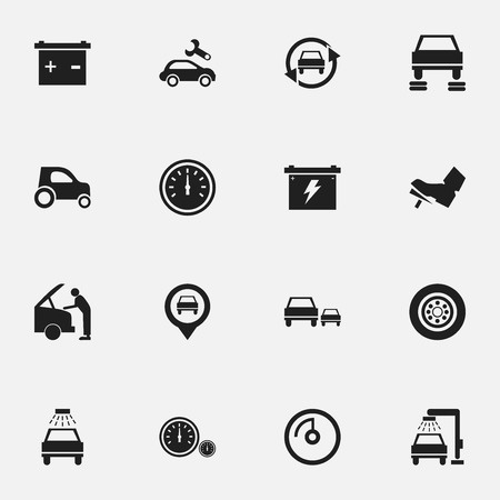 treadle: Set Of 16 Editable Vehicle Icons. Includes Symbols Such As Pointer, Battery, Treadle And More. Can Be Used For Web, Mobile, UI And Infographic Design.