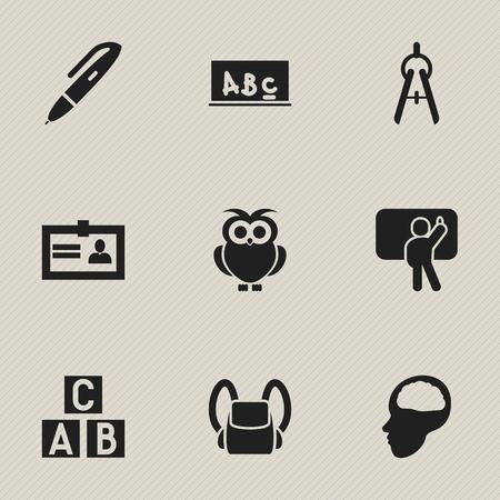 Ensemble de 9 icônes universitaires modifiables. Comprend des symboles tels que le stylo, la certification, l'outil de mathématiques et plus encore. Peut être utilisé pour la conception Web, mobile, UI et infographique. Vecteurs