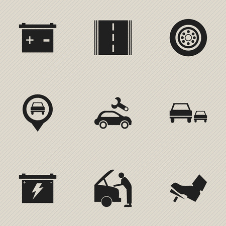 treadle: Set Of 9 Editable Car Icons. Includes Symbols Such As Treadle, Tire, Pointer And More. Can Be Used For Web, Mobile, UI And Infographic Design.