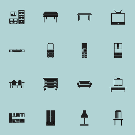 davenport: Set Of 16 Editable Interior Icons. Includes Symbols Such As Wardrobe, Wall Mirror, Glim And More. Can Be Used For Web, Mobile, UI And Infographic Design. Illustration