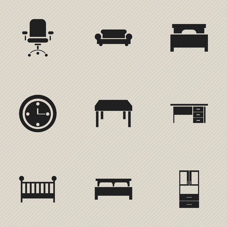 settee: Set Of 9 Editable Furnishings Icons. Includes Symbols Such As Watch, Bearings, Ergonomic Seat And More. Can Be Used For Web, Mobile, UI And Infographic Design. Illustration