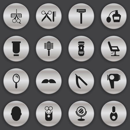 barbershop: Set Of 16 Editable Barber Icons. Includes Symbols Such As Cutter Apparatus, Reflector, Blade And More. Can Be Used For Web, Mobile, UI And Infographic Design. Illustration