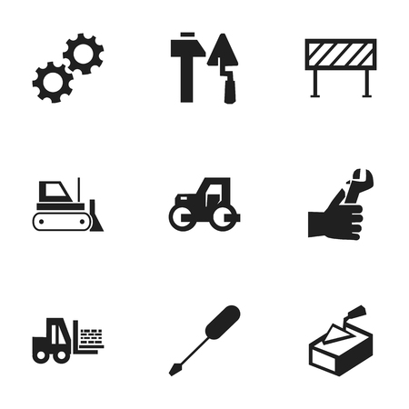tractor warning: Set Of 9 Editable Structure Icons. Includes Symbols Such As Barrier, Cogwheel, Truck And More. Can Be Used For Web, Mobile, UI And Infographic Design.