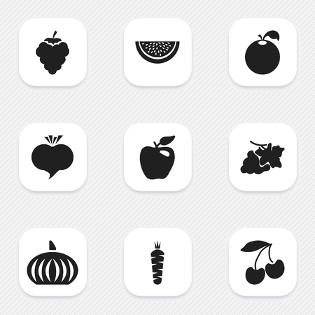 Set Of 9 Editable Fruits Icons. Includes Symbols Such As Papaya, Honeycrisp, Radish And More. Can Be Used For Web, Mobile, UI And Infographic Design. Illustration