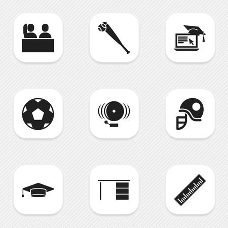 Ensemble de 9 icônes scolaires modifiables. Comprend des symboles tels que l'anneau, l'apprentissage à distance, table et plus encore. Peut être utilisé pour Web, Mobile, UI et conception infographique. Vecteurs