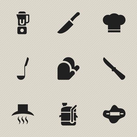 Set van 9 bewerkbare maaltijd pictogrammen. Bevat symbolen zoals mes, soeplepel, deeg en meer. Kan worden gebruikt voor Web, Mobile, UI en Infographic Design.