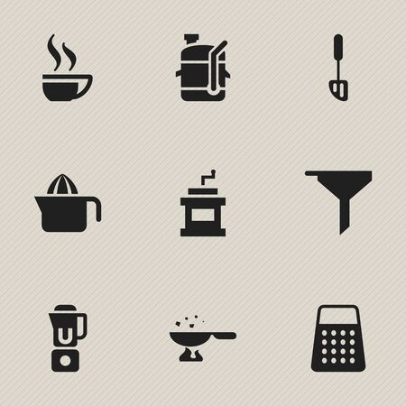 Set Of 9 Editable Meal Icons. Includes Symbols Such As Hand Mixer, Filtering, Coffee Cup. Can Be Used For Web, Mobile, UI And Infographic Design.