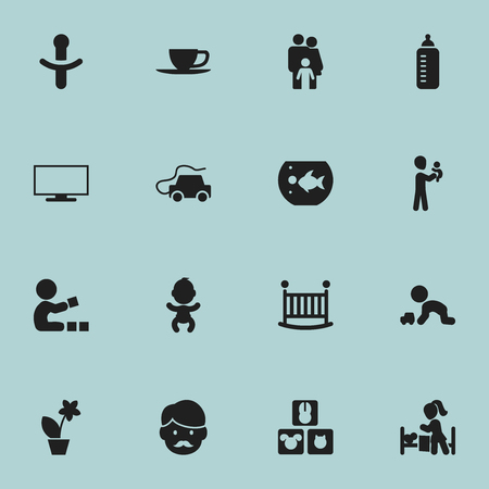 Set Of 16 Editable Folks Icons. Includes Symbols Such As Lineage, Play With Vehicle, Sleeping Daughter And More. Can Be Used For Web, Mobile, UI And Infographic Design.