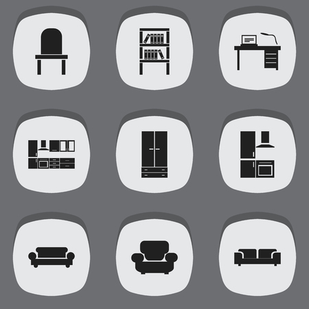 furnishings: Set Of 9 Editable Interior Icons. Includes Symbols Such As Cooking Furnishings, Lectern, Bookrack And More. Can Be Used For Web, Mobile, UI And Infographic Design.