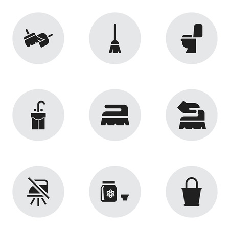 Set Of 9 Editable Hygiene Icons. Includes Symbols Such As Notice, Pail, Brooming And More. Can Be Used For Web, Mobile, UI And Infographic Design.