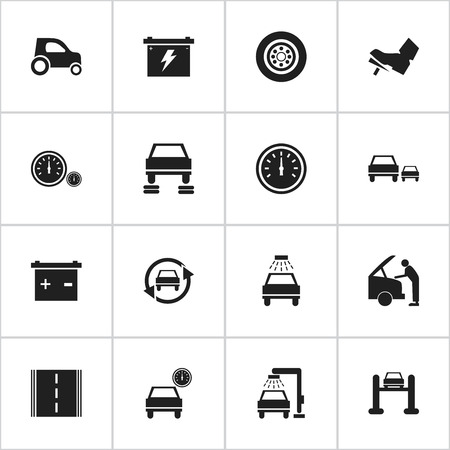treadle: Set Of 16 Editable Car Icons. Includes Symbols Such As Treadle, Automobile, Tuning Auto And More. Can Be Used For Web, Mobile, UI And Infographic Design.