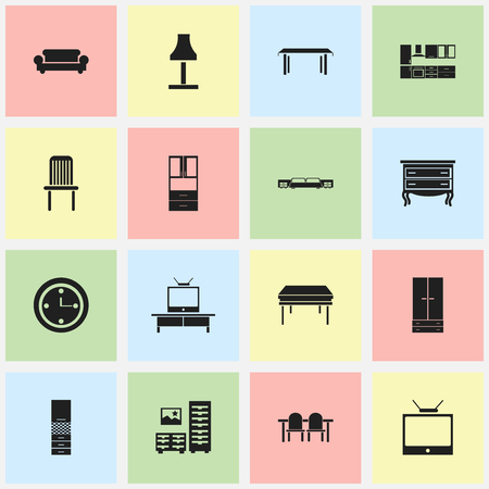 furnishings: Set Of 16 Editable Furnishings Icons. Includes Symbols Such As Mattress, Watch, Commode And More. Can Be Used For Web, Mobile, UI And Infographic Design.