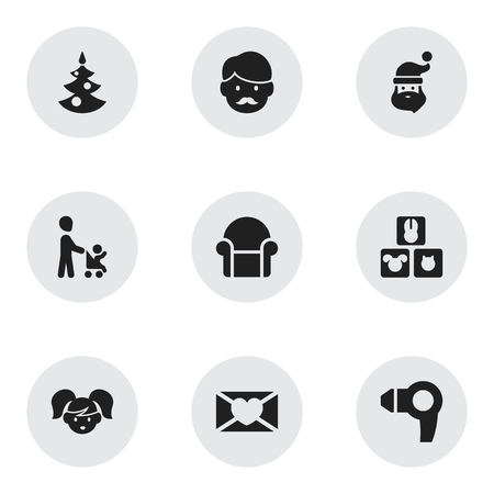 Set Of 9 Editable Folks Icons. Includes Symbols Such As Grandson, Fir, Grandpa. Can Be Used For Web, Mobile, UI And Infographic Design.