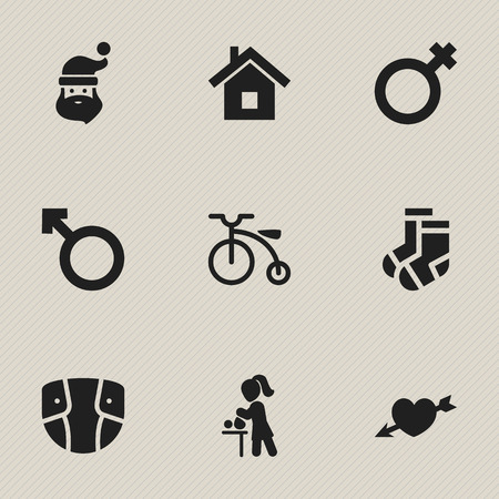 Set Of 9 Editable Folks Icons. Includes Symbols Such As Home , Woman Sign , Grandpa. Can Be Used For Web, Mobile, UI And Infographic Design. Ilustração