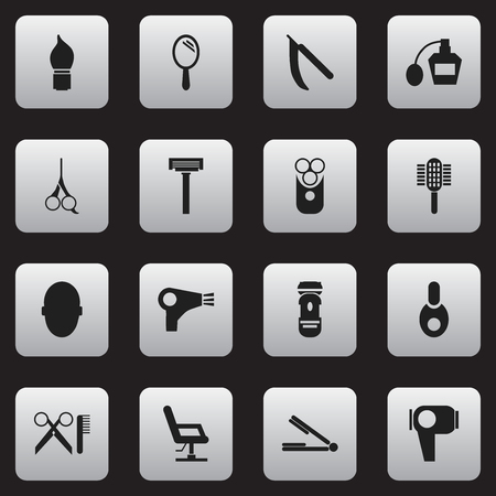 barbershop: Set Of 16 Editable Hairdresser Icons. Includes Symbols Such As Cutter Apparatus, Cut Tool, Reflector And More. Can Be Used For Web, Mobile, UI And Infographic Design.