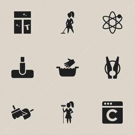 Set Of 9 Editable Dry-Cleaning Icons. Includes Symbols Such As Peg, Brooming, Working At Home And More. Can Be Used For Web, Mobile, UI And Infographic Design.
